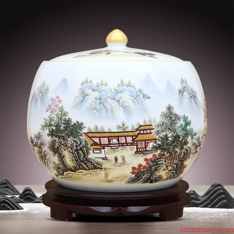 Chinese jingdezhen ceramics powder enamel caddy fixings storage tank handicraft furnishing articles office sitting room adornment ornament