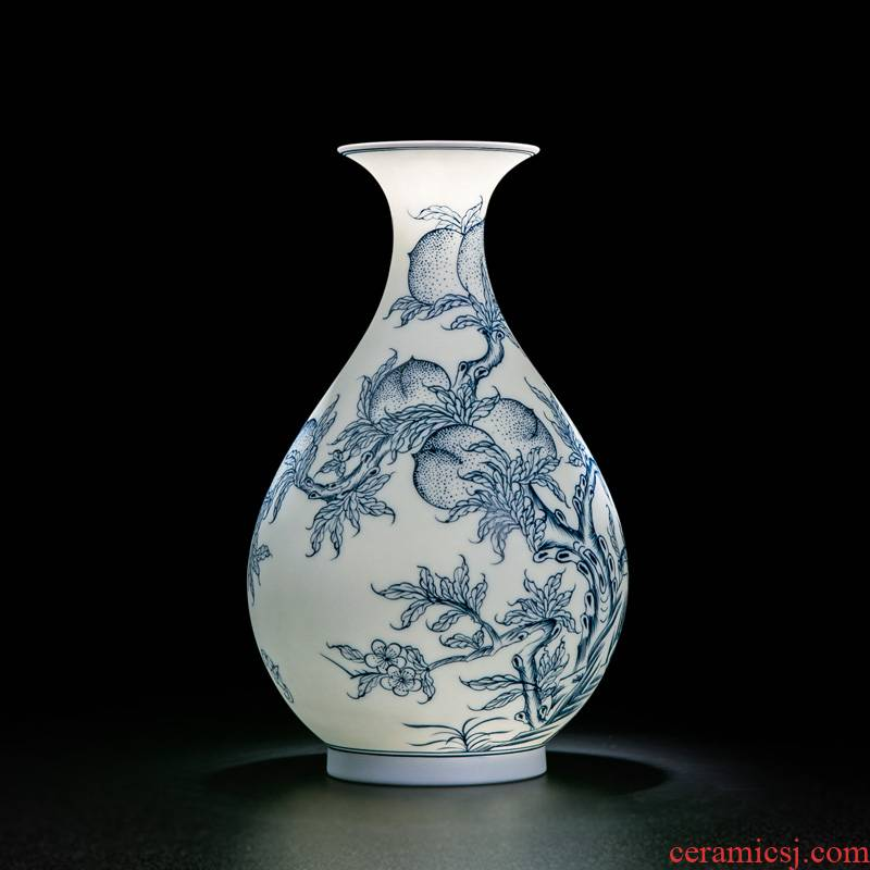 Vase furnishing articles sitting room creative Chinese trumpet jingdezhen ceramic vases, flower arranging is ancient frame ornaments