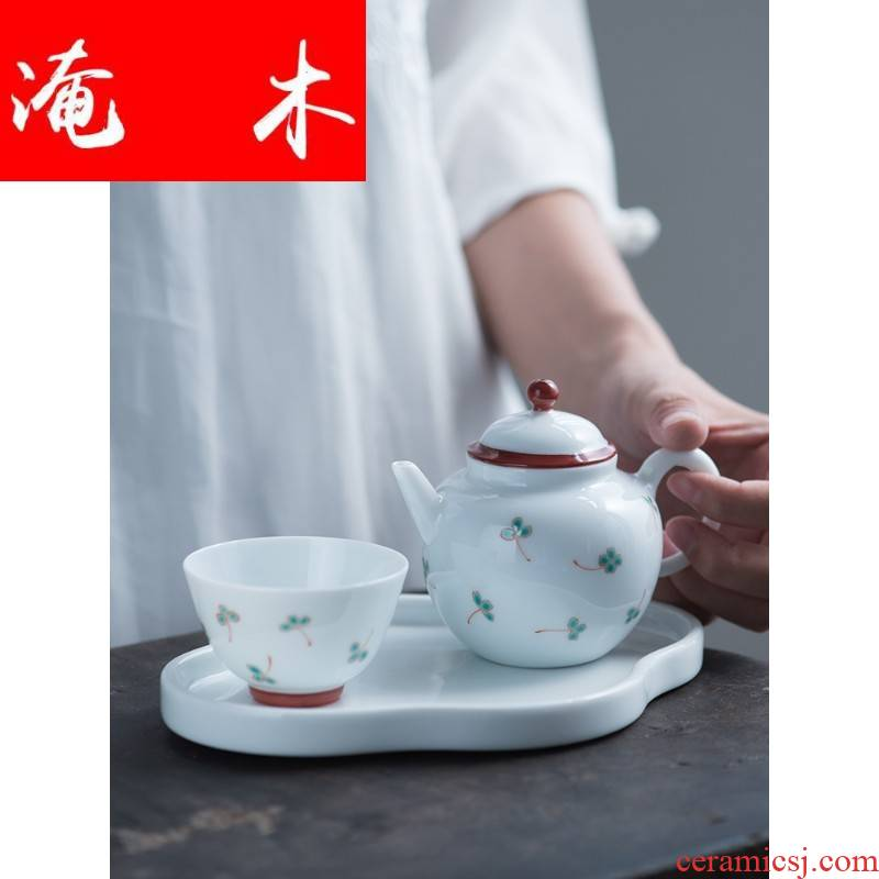 Submerged wood jingdezhen lucky grass series lid bowl cups pure hand draw pastel manual small pure and fresh and ceramic tea set