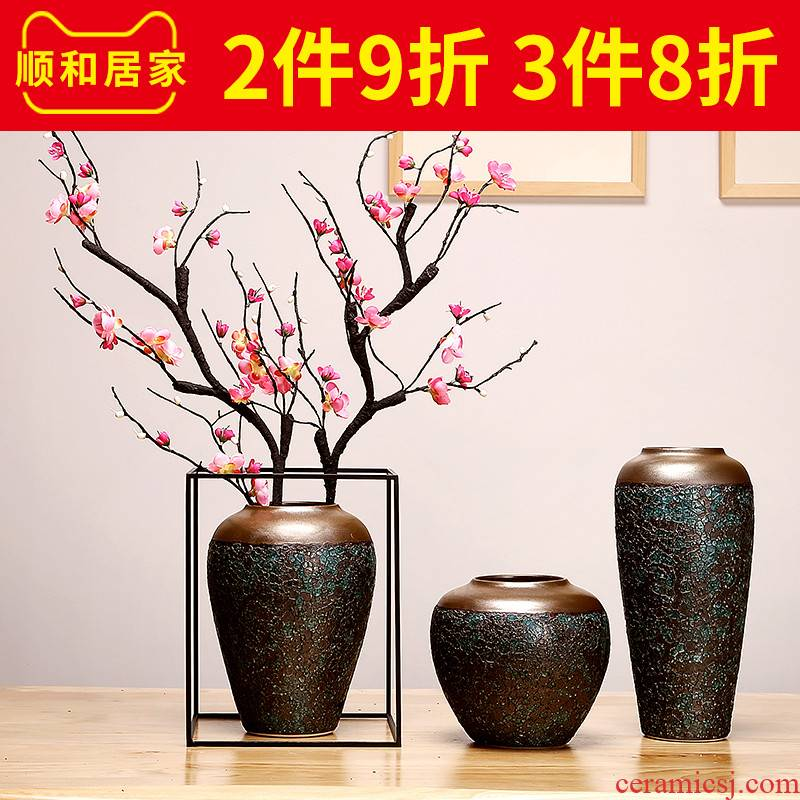 Jingdezhen ceramics vase manual creative living room of Chinese style household dried flowers flower arrangement craft ornaments furnishing articles