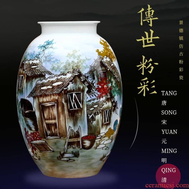 Jingdezhen ceramics green lake town hand - made vases, Chinese style is I sitting room home furnishing articles mesa adornment