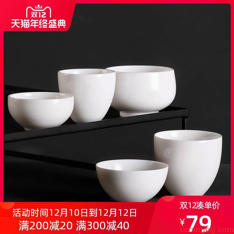 High dehua white porcelain masters cup kung fu noggin single individual sample tea cup only tea cup and cup Bai Sechan cup