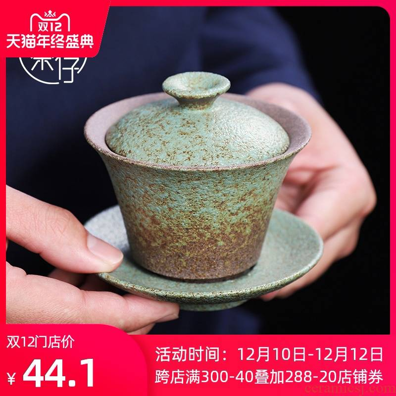 Coarse pottery Japanese tea tureen tea set in ancient tea tureen ceramic cups restoring ancient ways only three cups of small single suit