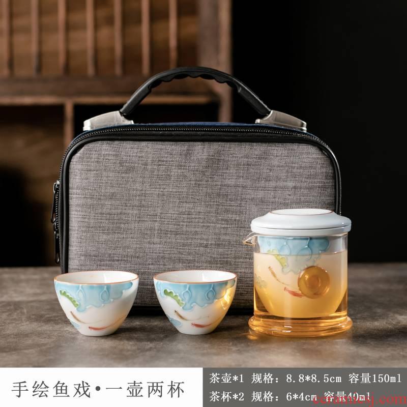 Ya xin company hall, a pot of two cups of portable travel tea set ceramic teapot with kung fu tea set
