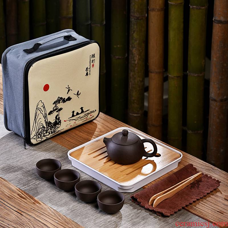 Hui shi portable travel tea set suit small set of packaging travel to receive packages kung fu tea set ceramic purple sand teapot