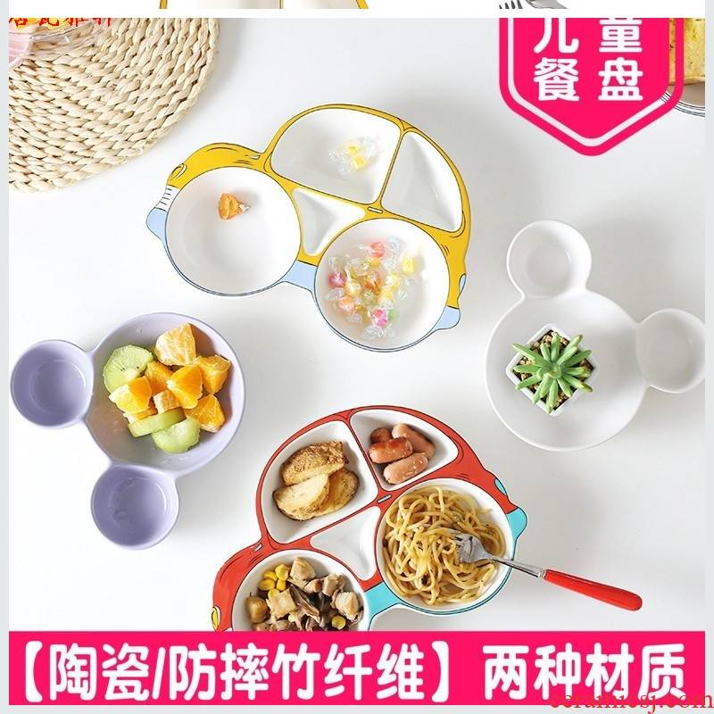 Prevent hot dishes car boxes ceramic tableware and dishes children ceramic plate into a cartoon home restaurant dishes