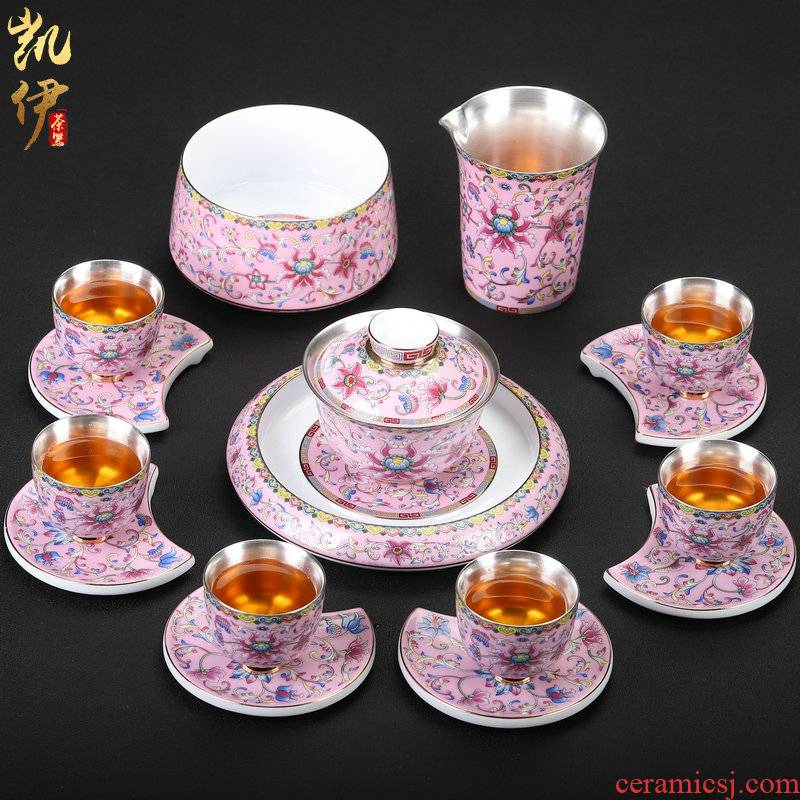 Pure silver colored enamel coppering. As kung fu tea set of a complete set of jingdezhen ceramic tureen tea teapot silver cup
