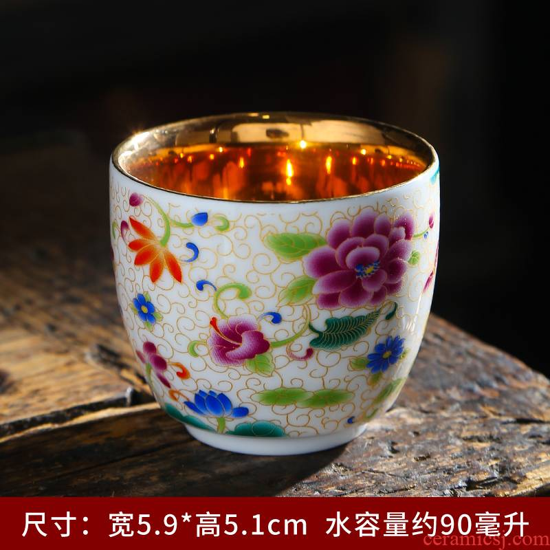 Tasted silver gilding ceramic paint master cup single CPU suet jade white porcelain tea cups kung fu tea cups. A single