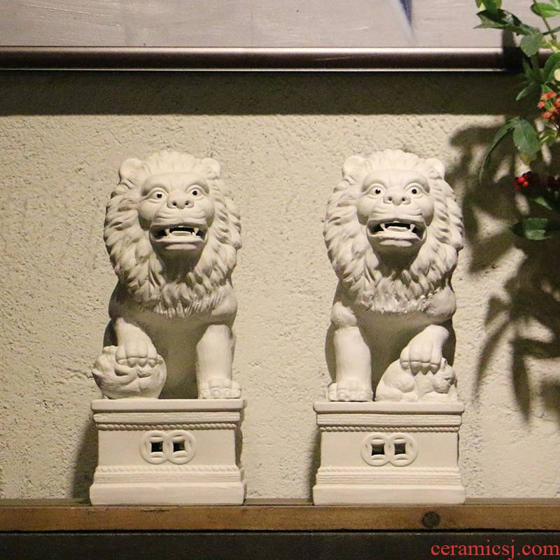 Jingdezhen white town curtilage the lion furnishing articles a Chinese sitting room porch study housewarming gift ceramic arts and crafts