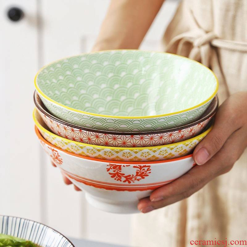 The Japanese kitchen ceramic bowl household size pull rainbow such as bowl bowl bowl creative dishes tableware suit ltd. bucket