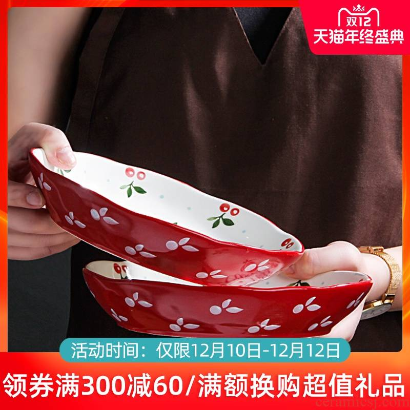 Large dishes suit household to eat bread and butter plate combination of jingdezhen ceramics noodles soup bowl creative Japanese dishes
