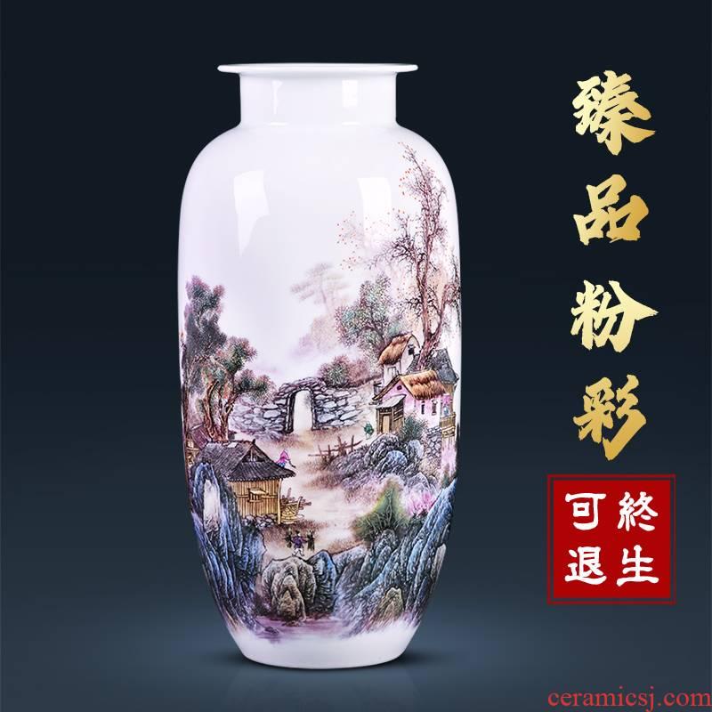 Jingdezhen ceramic vase pastel sitting room flower arranging porcelain home decoration rich ancient frame TV ark, study furnishing articles