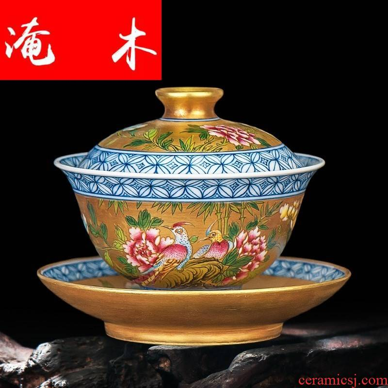 Flooded hand - made wooden jingdezhen ceramics powder enamel antique gold flower on three tureen kung fu tea set can be customized