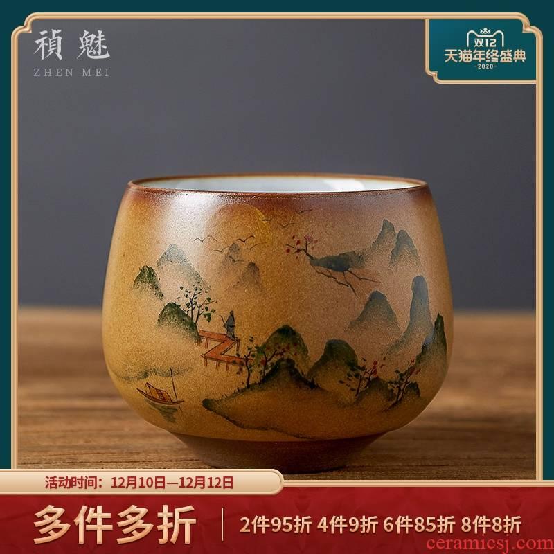 Shot incarnate the jingdezhen ceramic your up hand - made landscape master cup single CPU kung fu tea set sample tea cup large cups
