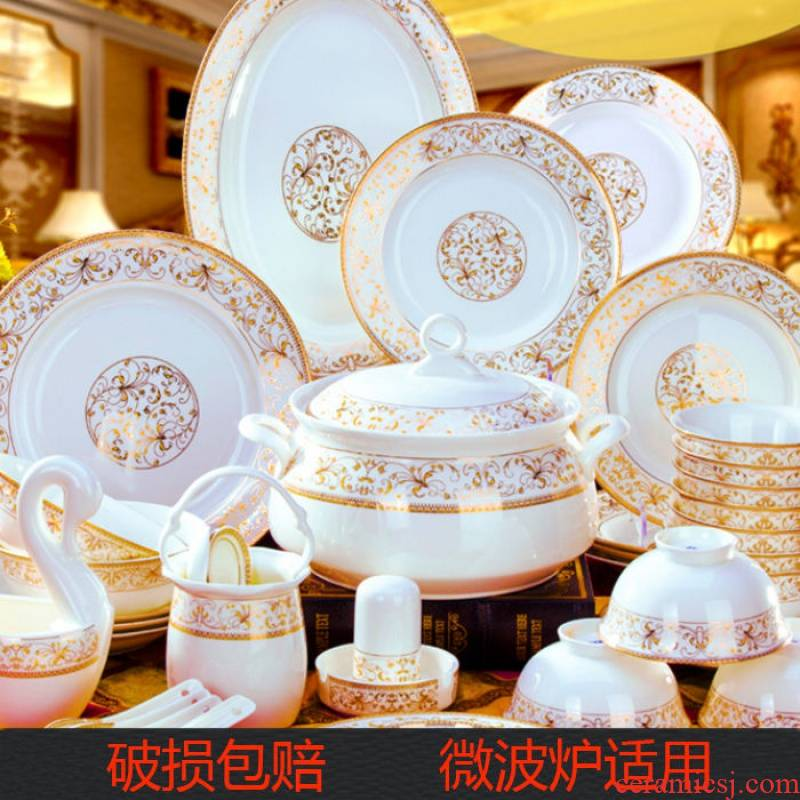 Tableware ceramics dishes suit household gift high anti hot bowl of ipads China Tableware suit your job