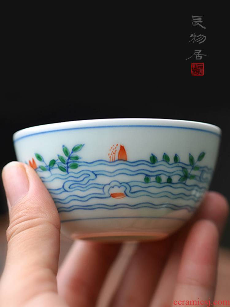 Offered home - cooked in yongzheng hand - made color bucket small glass sample tea cup cup jingdezhen manual archaize ceramic tea set