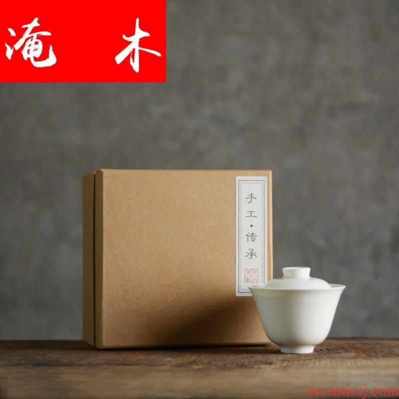 Flooded wooden teeth white yulan tureen jingdezhen ceramics by hand kung fu tea bowl tea and tea cups
