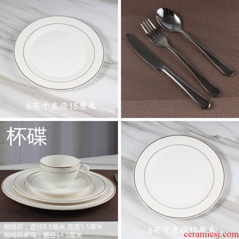 Steak dish ceramic round western up phnom penh dish dish platter home plate flat dish dish of western - style tableware