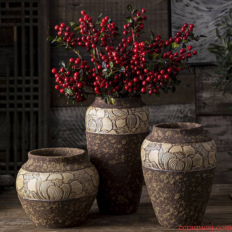 New Chinese style ceramic floret bottle zen furnishing articles home rich ancient frame sitting room tea table dry flower flower arranging flower implement manually