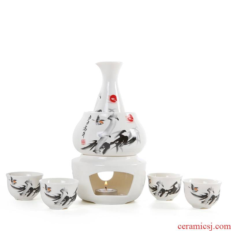Qiao mu new ceramic Korean celadon wine he its drank with day heating warm wine points hip green wine cooking wine sets