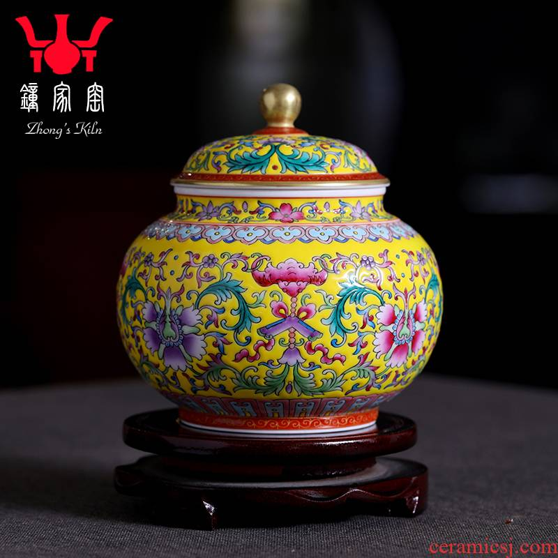 Clock home sealed as cans of jingdezhen ceramic up caddy fixings tea pot storage tanks hand - made colored enamel tea pot