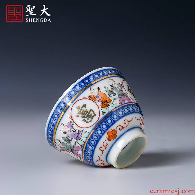 Santa kunfu tea sample tea cup hand - made ceramic new blue see colour with a silver spoon in its ehrs expressions using long master cup of jingdezhen tea service by hand