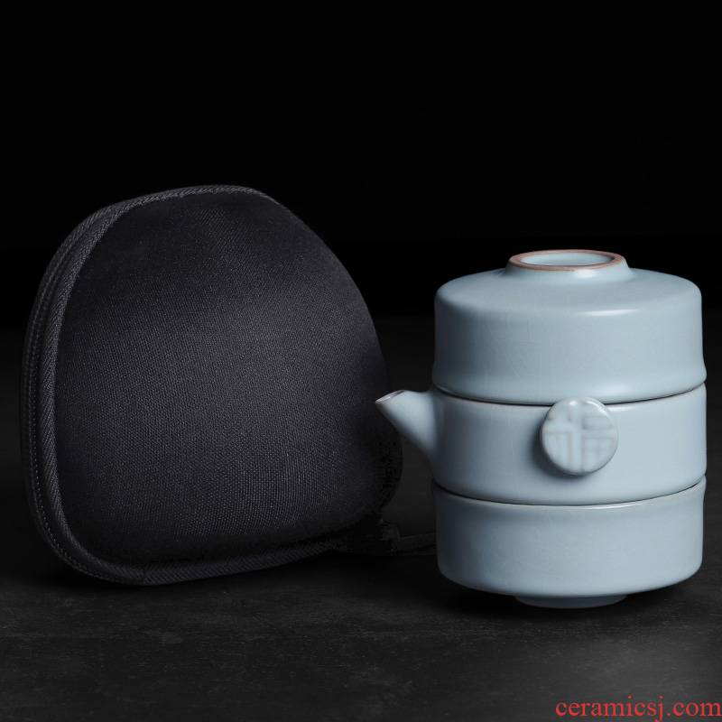 Your up crack cup travel a pot of two cups of two glass ceramic teapot tea sets, small portable BaoHu travel outside