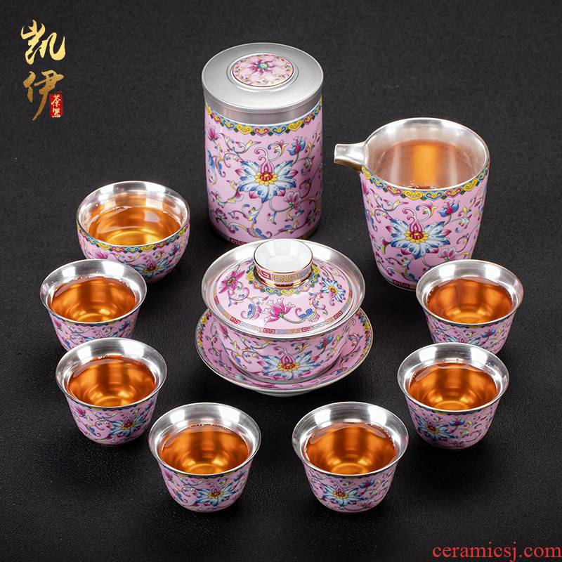 Colored enamel fate coppering. As silver cup kung fu tea set jingdezhen ceramic tea tureen household silver cup