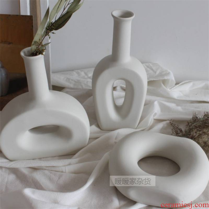 Ceramic vase retro embellish ins wind Nordic home furnishing articles semicircle cafe studio decoration of home stay facility