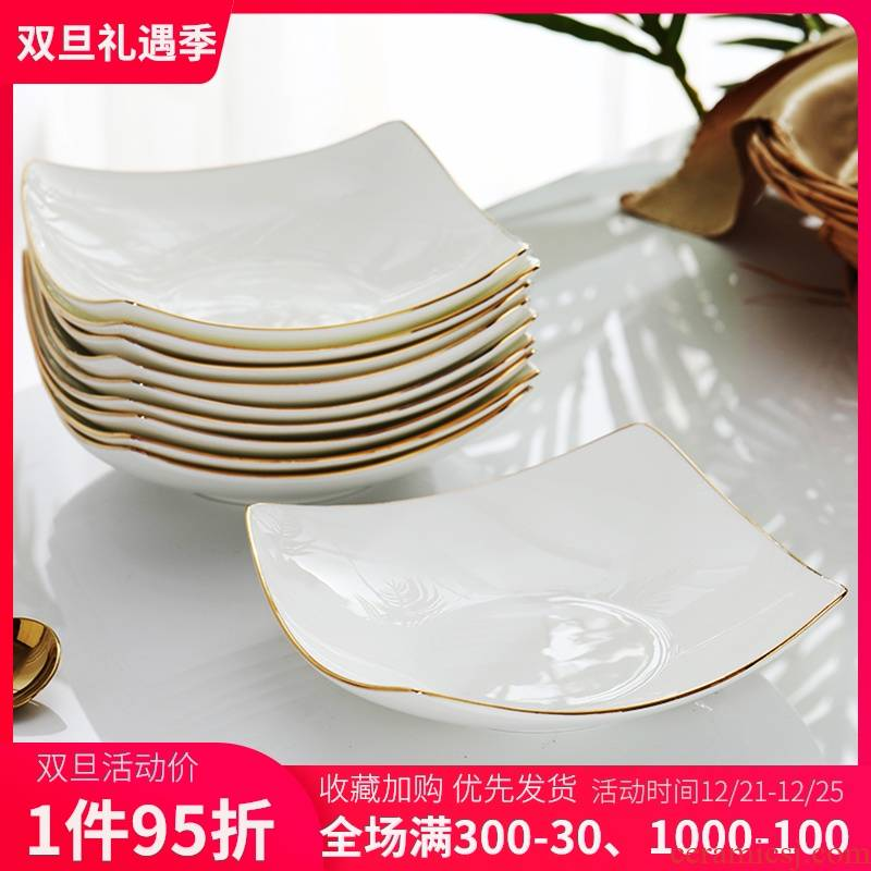 Ceramic plate combination suit household Japanese creativity network red plate quadrate dish dish soup plate deep dish ipads porcelain plate