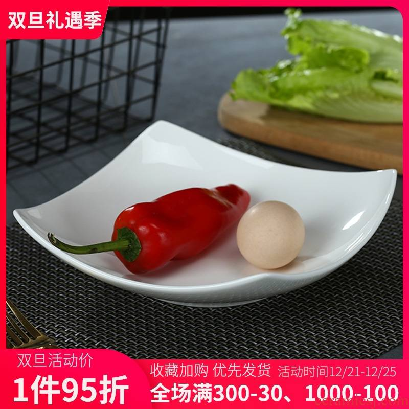 Pure white son ipads porcelain of jingdezhen ceramic tableware plate creative square plate with deep dish dish dish dish soup