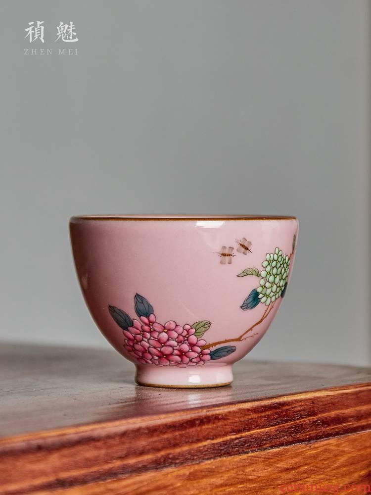 Shot incarnate the powder your up hydrangea jingdezhen ceramic cups kung fu tea set sample tea cup personal single CPU master CPU
