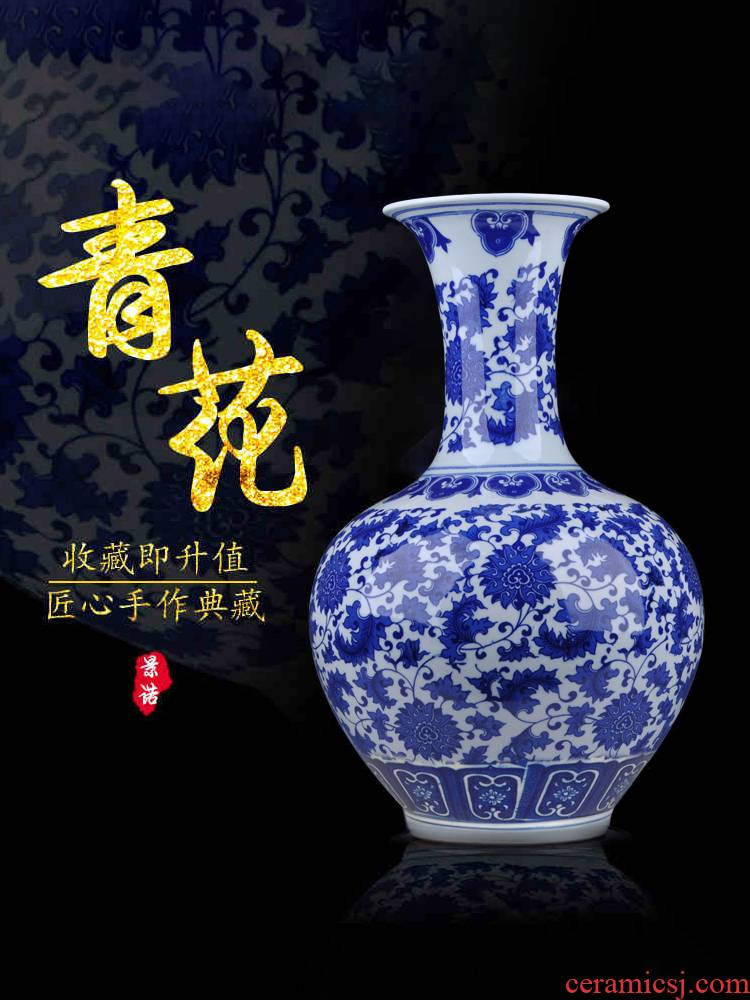 Jingdezhen ceramic furnishing articles archaize large Chinese blue and white porcelain vase sitting room porch TV ark adornment arranging flowers