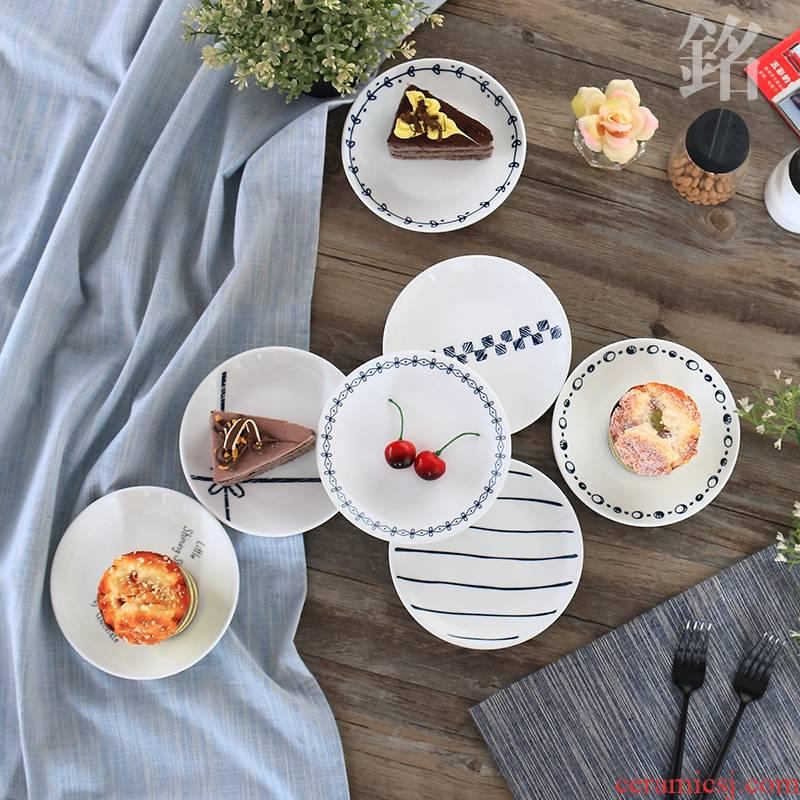 Scene best Nordic creative ceramic tableware, Japanese ipads plate cake dessert plate snack plate domestic cartoon plate to vomit