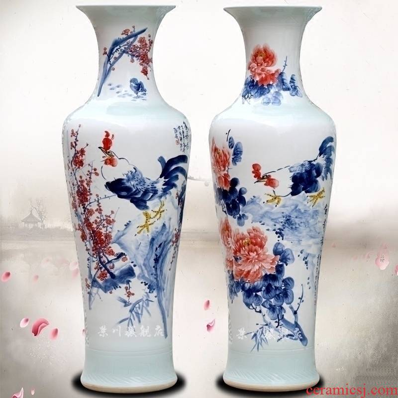 Jingdezhen ceramic hand - made big golden crow sitting room of large vase household of Chinese style, decorative furnishing articles