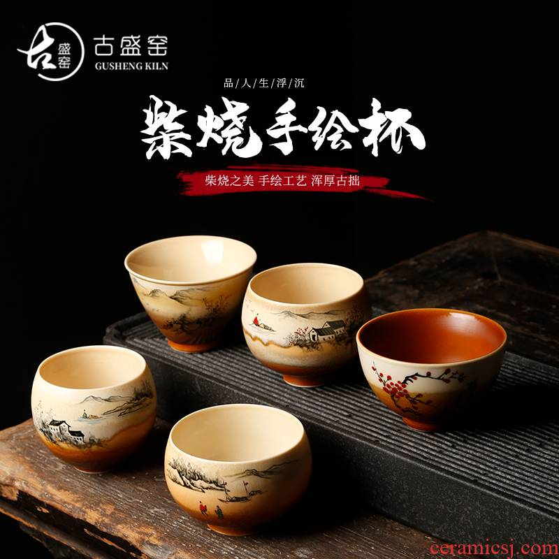 Ancient sheng up to burn hand - made the master sample tea cup fullness jingdezhen up all hand single CPU kung fu tea cups