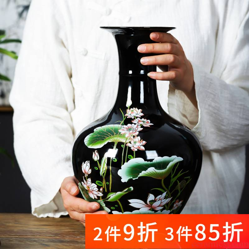 Jingdezhen ceramics vase furnishing articles flower arrangement of Chinese style household wine sitting room adornment rich ancient frame porch decoration