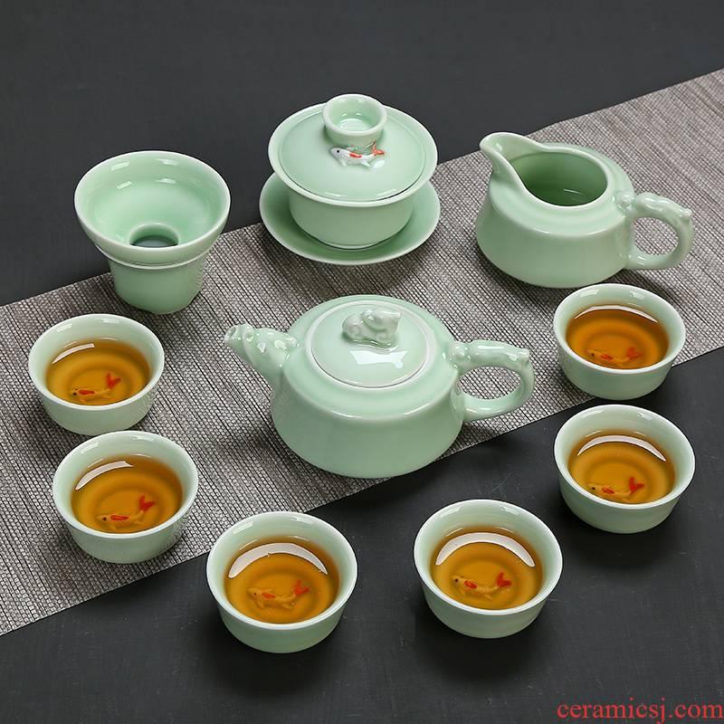 Celadon kung fu tea set of ceramic tea set carp cup teapot Celadon tureen tea service of a complete set of household teapot