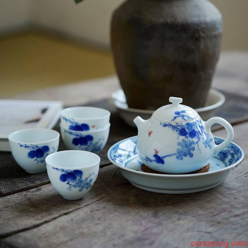 The Poly real scene blue - and - white hand - made kung fu tea set household contracted jingdezhen ceramic lid bowl cups of a complete set of