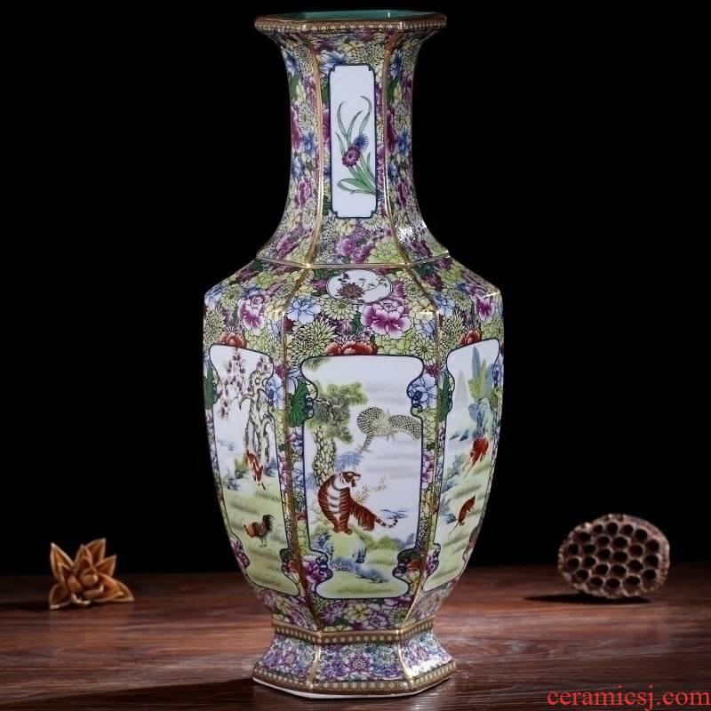 Chinese zodiac figure sitting room place jingdezhen ceramic vase mesa household imitation qianlong classical arts and crafts