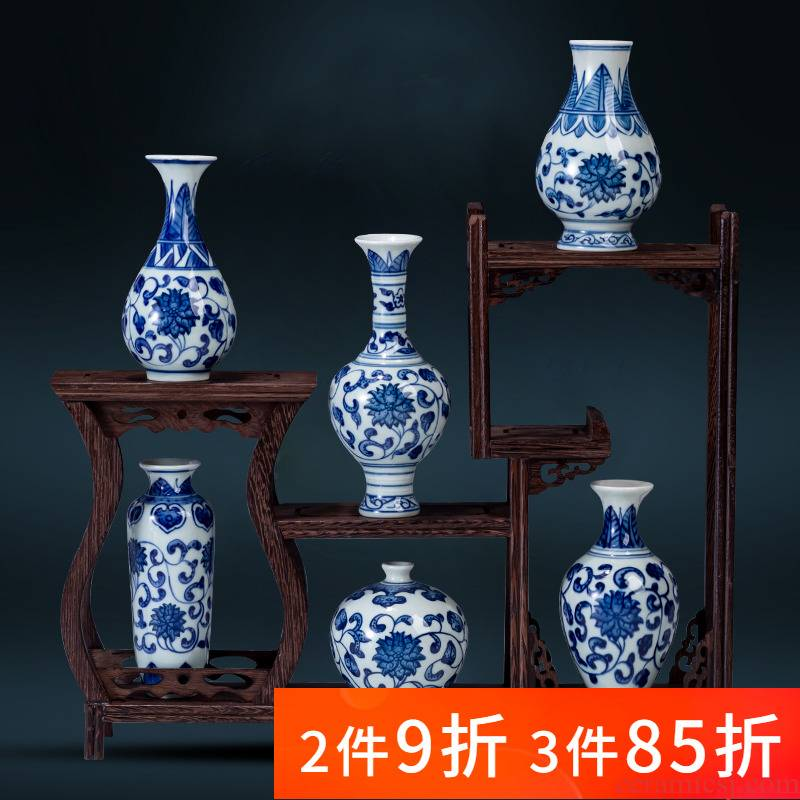 Jingdezhen ceramic mini small blue and white porcelain vase suit water raise flower arranging furnishing articles rich ancient frame tea table decorations