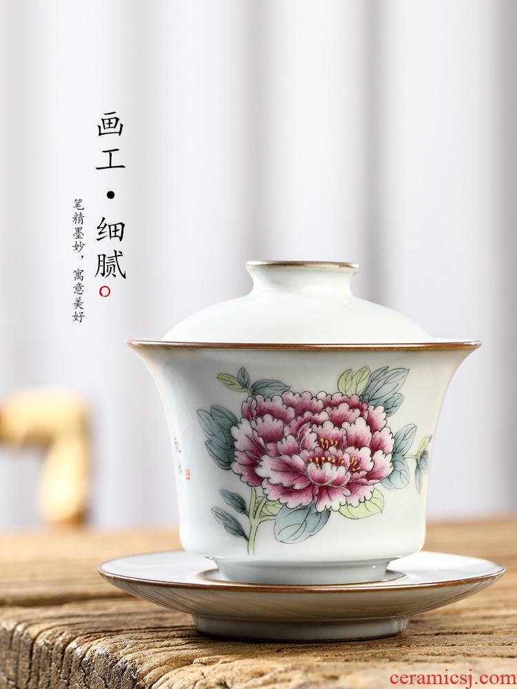 Jingdezhen pure manual only three tureen tea cups large ironing your up want to use hand - made peony kung fu tea set
