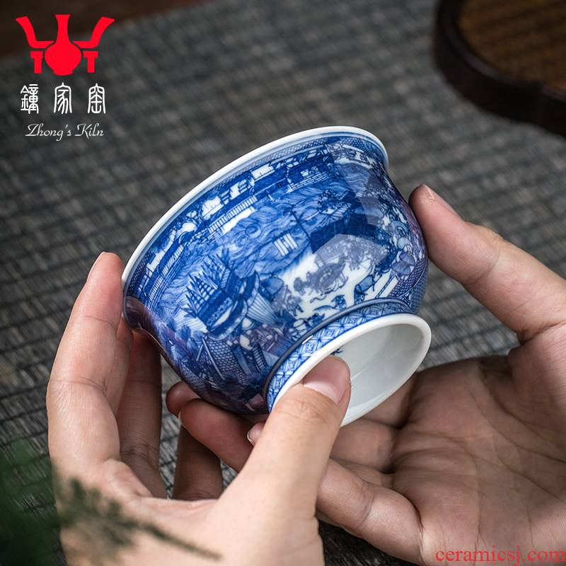 Have blue and white porcelain up jingdezhen porcelain cups maintain master cup single hand - drawn cup classic qingming scroll