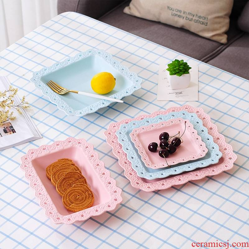 Qiao mu square ceramic hollow out creative Japanese steak dish western - style food tableware household food dish plate plate of fruit