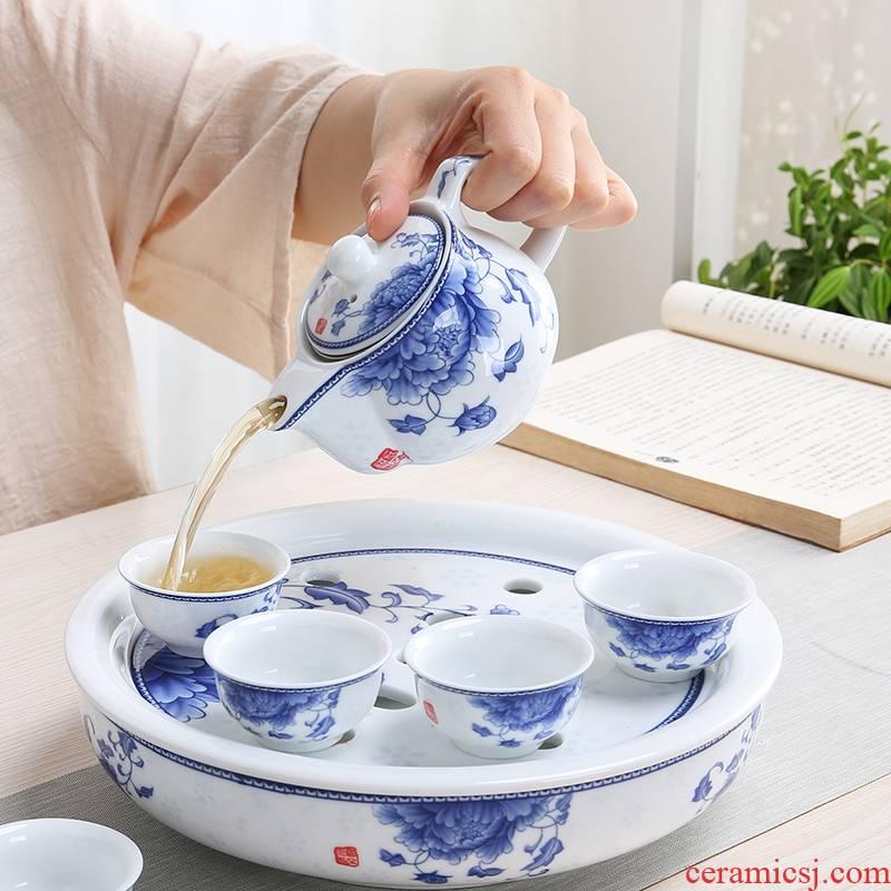 Kung fu tea set contracted household small set of blue and white porcelain of jingdezhen ceramic tea set teapot teacup