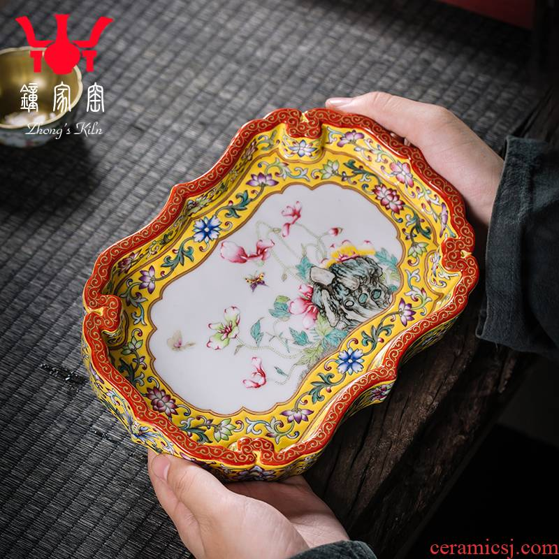 Clock home plate of jingdezhen up enamel color tea tray was drop tea tray was high - grade kung fu tea tea tray accessories drainage