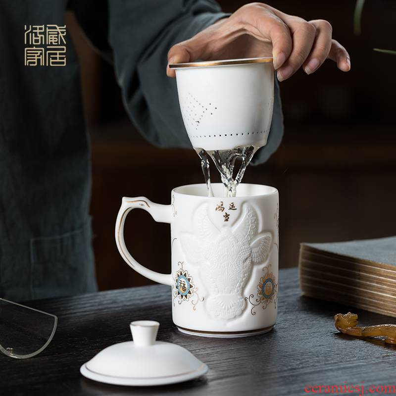 Filtering, individual special ceramic cups with cover office tea cups of tea separation of high - end creative tea set