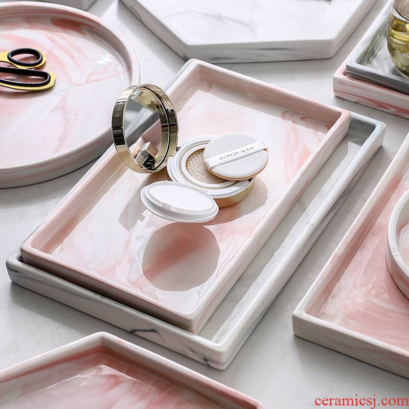 Light key-2 luxury Nordic marble rectangle bathroom ceramic bathroom tray jewelry receive disc sweet snack plate