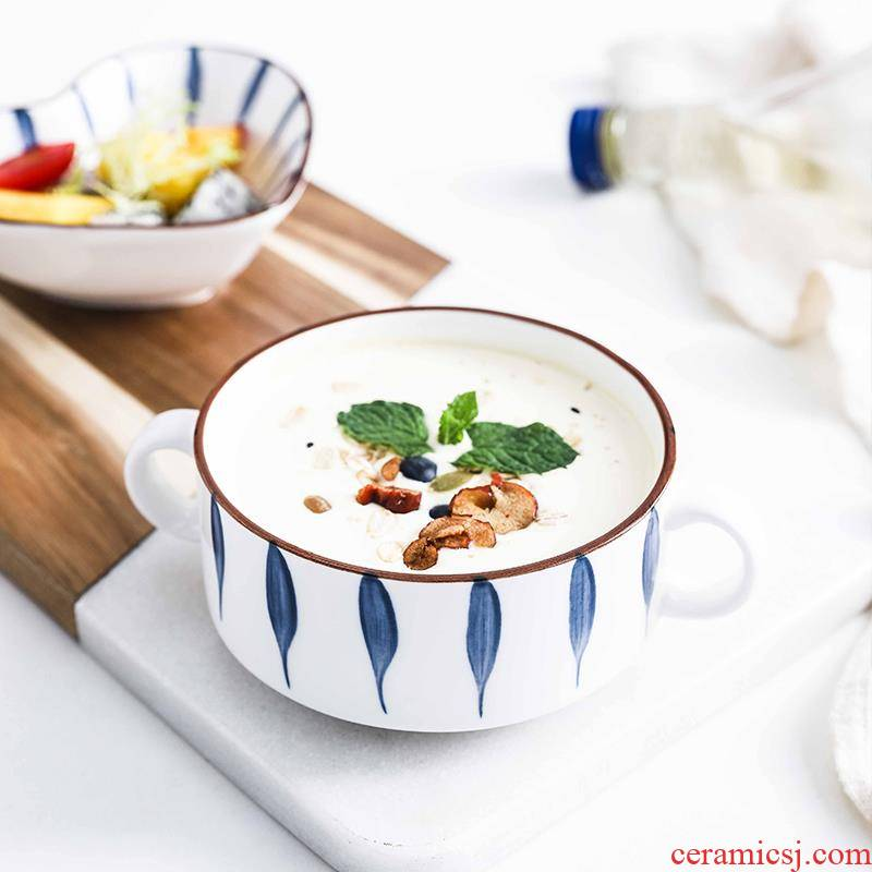 Japanese ceramic bowl contracted wind Nordic girl couples children breakfast sweet soup bowl of fruit bowl of steaming bowl of my ears