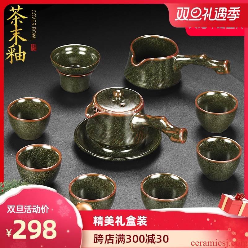 Artisan fairy dust glaze ceramic tea set home six vintage kung fu tea set side put pot of tea gift box